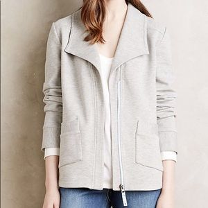 Anthropologie Sightseer Knit Grey Zip Up Jacket
